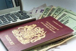 Passport, phone and banknotes